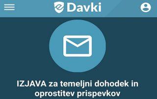 Na portalu eDavki že objavljena izjava za pridobitev temeljnega dohodka in oprostitev plačila prispevkov